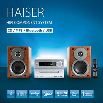 HAISER HSR 117 | 40 Watt RMS mit • CD-Player • Bluetooth • USB • Boxen • FM Radio | HiFi Component System - 3