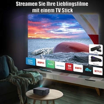 Beamer, WiMiUS 7500 L Full HD 1080P WiFi Bluetooth Beamer Unterstützung 4K Video, LED Heimkino Video Beamer 300 '' Display, kompatibel mit Fire Stick, Laptop, iOS / Android Smartphone, PS5 Projektor - 3