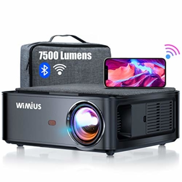 Beamer, WiMiUS 7500 L Full HD 1080P WiFi Bluetooth Beamer Unterstützung 4K Video, LED Heimkino Video Beamer 300 '' Display, kompatibel mit Fire Stick, Laptop, iOS / Android Smartphone, PS5 Projektor - 1