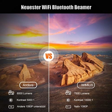 Beamer, WiMiUS 7500 L Full HD 1080P WiFi Bluetooth Beamer Unterstützung 4K Video, LED Heimkino Video Beamer 300 '' Display, kompatibel mit Fire Stick, Laptop, iOS / Android Smartphone, PS5 Projektor - 6