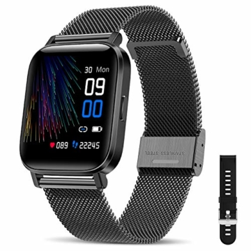 "CanMixs Smartwatch Fitness Armband Uhr 1.54"" Voller Touch Screen Fitnessuhr IP68 Wasserdicht Fitness Tracker Sportuhr mit Schrittzähler Pulsuhren Stoppuhr Musiksteuerung für iOS Android Damen Herren - 1"