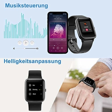 Willful Smartwatch,1.3 Zoll Touch-Farbdisplay Fitness Armbanduhr mit Pulsuhr Fitness Tracker IP68 Wasserdicht Sportuhr Smart Watch mit Schrittzähler,Schlafmonitor,Stoppuhr für Damen Herren - 2