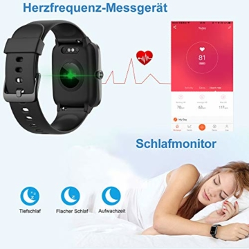 Willful Smartwatch,1.3 Zoll Touch-Farbdisplay Fitness Armbanduhr mit Pulsuhr Fitness Tracker IP68 Wasserdicht Sportuhr Smart Watch mit Schrittzähler,Schlafmonitor,Stoppuhr für Damen Herren - 3