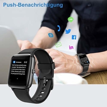 Willful Smartwatch,1.3 Zoll Touch-Farbdisplay Fitness Armbanduhr mit Pulsuhr Fitness Tracker IP68 Wasserdicht Sportuhr Smart Watch mit Schrittzähler,Schlafmonitor,Stoppuhr für Damen Herren - 5