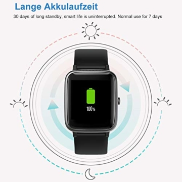 Willful Smartwatch,1.3 Zoll Touch-Farbdisplay Fitness Armbanduhr mit Pulsuhr Fitness Tracker IP68 Wasserdicht Sportuhr Smart Watch mit Schrittzähler,Schlafmonitor,Stoppuhr für Damen Herren - 8