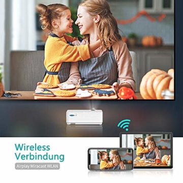 WiFi Beamer 4500 Lux, VANKYO Leisure 470 Wireless Beamer, Support 1080P Full HD Heimkino Beamer WLAN, kompatibel mit TV Stick, HDMI, SD, AV, VGA, USB, PS4, X-Box, iOS/Android Smartphone Projektor - 2
